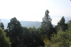 大師堂脇の展望台から石鎚山方面。残念(2017.9)